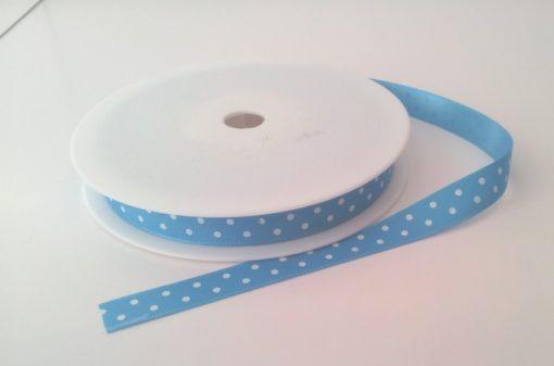 Aqua with White Dots Grosgrain 10mm x 20m 1
