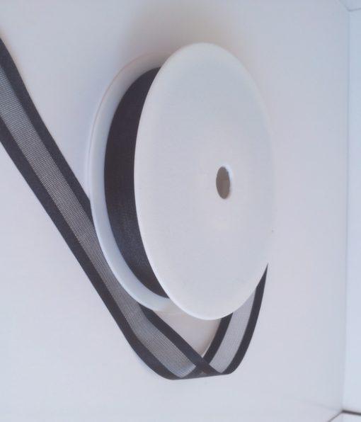 Black Satin Edge Organza Ribbon 15mm x 20m 1