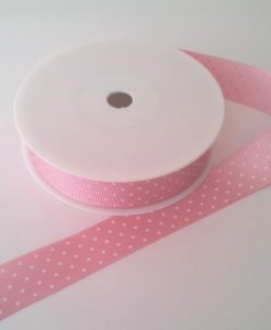 Blush with White Spots Grosgrain 22mm x 20m