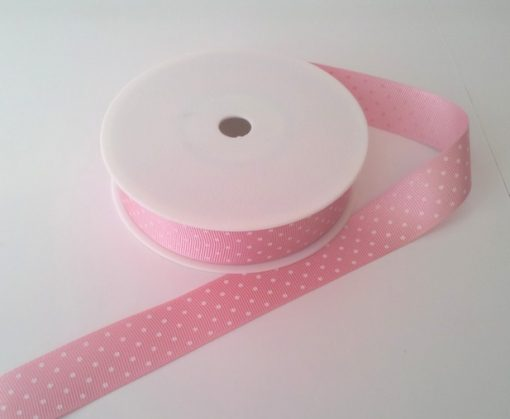 Blush with White Spots Grosgrain 22mm x 20m 1