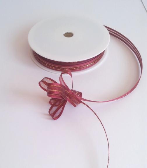 Claret Satin Edge Pull Bow Ribbon 10mm x 25m 1