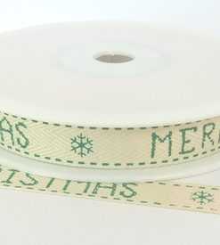 Cream Cotton/Green Merry Christmas/Snowflake print 15mm x 20m