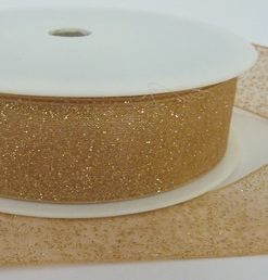 Gold Woven Edge Organza Ribbon with Gold Glitter 25mm x 20m