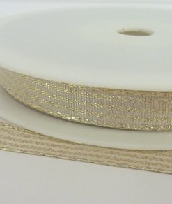Gold Lurex Ribbon with Shiny Gold Stripes 10mm x 20m