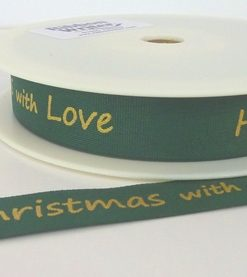 Green Cotton/Gold Happy Christmas print 15mm x 20m
