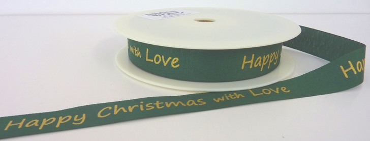 Green Cotton/Gold Happy Christmas print 15mm x 20m 1