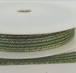 Green Lurex Ribbon with Shiny Gold Stripes