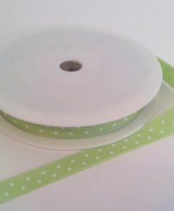 Lime with White Dots Grosgrain 10mm x 20m