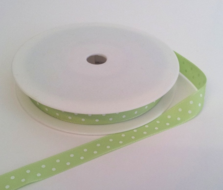 Lime with White Dots Grosgrain 10mm x 20m 1