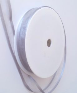 Pewter Satin Edge Organza Ribbon 15mm x 20m