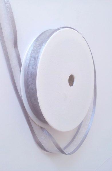 Pewter Satin Edge Organza Ribbon 15mm x 20m 1