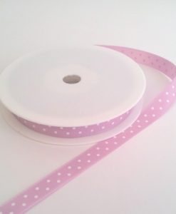 Pink with White Dots Grosgrain 10mm x 20m