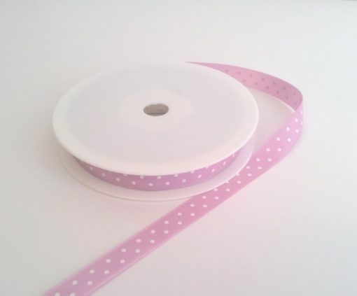 Pink with White Dots Grosgrain 10mm x 20m 1