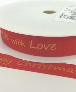 Red Cotton/Gold Happy Christmas print 15mmx 20m