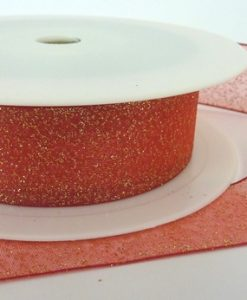 Red Woven Edge Organza Ribbon with Gold Glitter 25mm x 20m