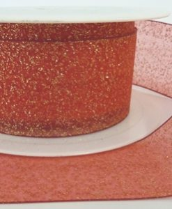 Red Woven Edge Organza Ribbon with Gold Glitter 40mm x 20m