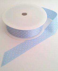 Saxe with White Spots Grosgrain 22m x 20m