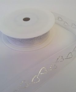 White organza Wedding Ribbon with printed Silver Hearts 25mmx20m