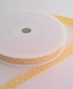 Yellow with White Dots Grosgrain 10mm x 20m
