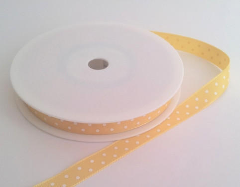 Yellow with White Dots Grosgrain 10mm x 20m 1