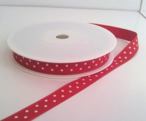 Red with White Dots Grosgrain 10mm x 20m 1