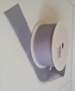 Silver Lurex Ribbon Designer Edge 24mm x 20m