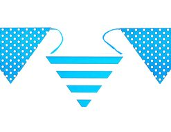 4326 8 Stripes and dots bunting turquoise