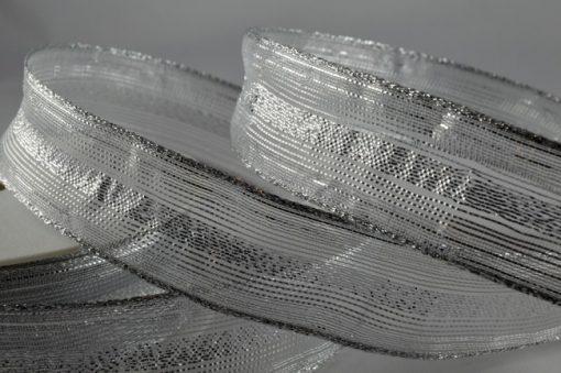 Wired organza white/silver ribbon 15mm x 20m 1