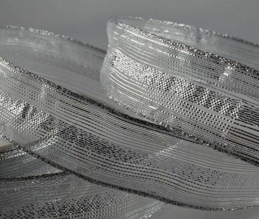 Wired organza white/silver ribbon 15mm x 20m 1