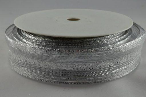 Wired organza white/silver ribbon 15mm x 20m