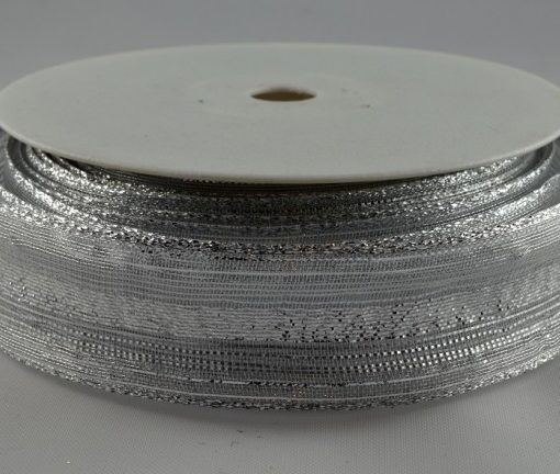 Wired organza white/silver ribbon 15mm x 20m