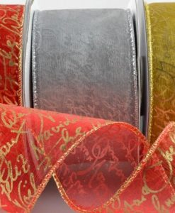 Wired Organza with Christmas Greeting gold/gold 50mm x 10m