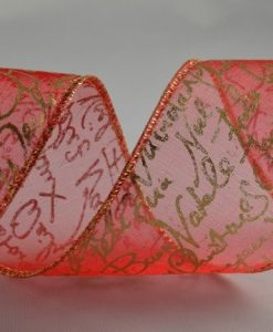 Wired Organza with Christmas Greeting red/gold 50mm x 10m