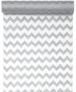 Organza glitter chevron design table runner 28mm x 5m T4648