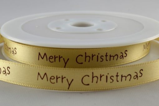 Green satin ribbon with christmas greeting 10mm x 20m
