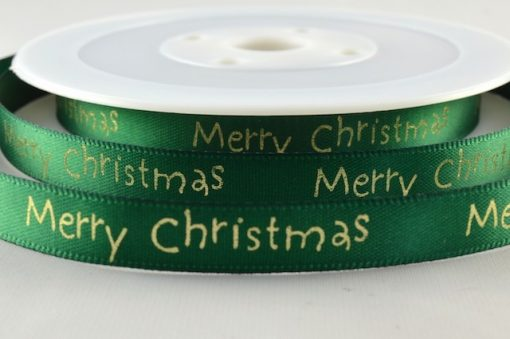 Green satin ribbon with christmas greeting 10mm x 20m 1