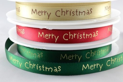Green satin ribbon with christmas greeting 10mm x 20m