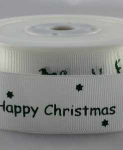 Grosgrain ribbon white/green Xmas sleigh design 25mm x 20m