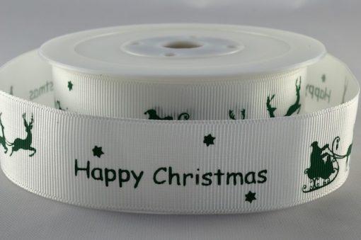 Grosgrain ribbon white/green Xmas sleigh design 25mm x 20m 1
