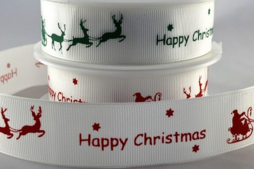 Grosgrain ribbon white/green Xmas sleigh design 25mm x 20m