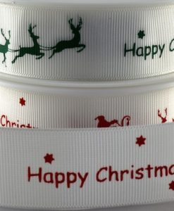 Grosgrain ribbon white/red Xmas sleigh design 25mm x 20m