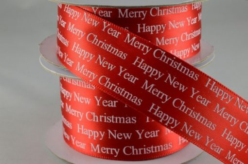 Red Christmas Greeting polyester satin ribbon 25mm x 10m
