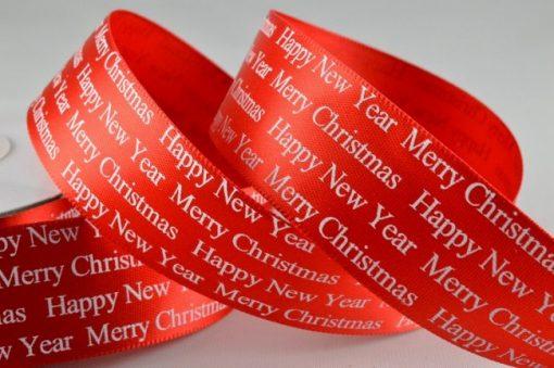 Red Christmas Greeting polyester satin ribbon 38mm x 10m