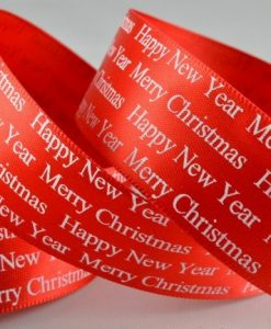 Red Christmas Greeting polyester satin ribbon 25mm x 10m