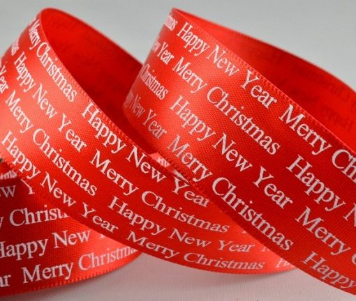 Red Christmas Greeting polyester satin ribbon 25mm x 10m 1