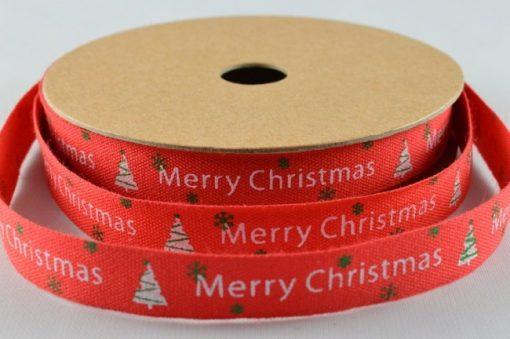 Red cotton christmas ribbon/tape 10mm x 10m 1