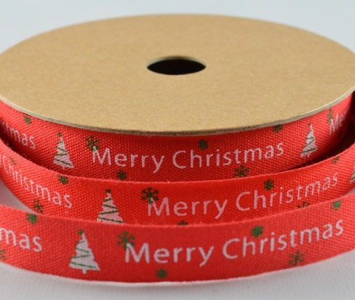 Red cotton christmas ribbon/tape 10mm x 10m 1