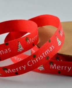 Red cotton christmas ribbon/tape 10mm x 10m