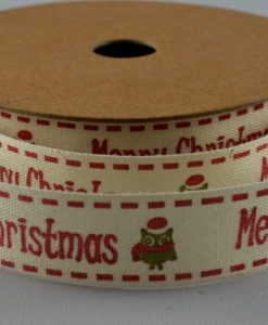 Cream cotton with red xmas greeting/robin design 15mm x 10m