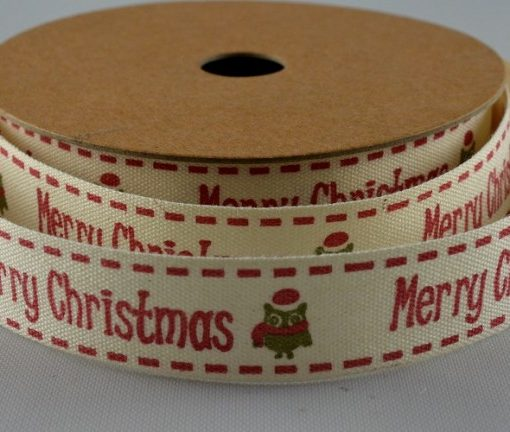 Cream cotton with red xmas greeting/robin design 15mm x 10m 1
